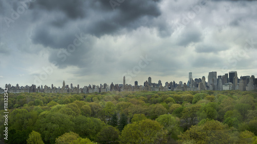Urban park and city skyline, New York, New York, United States