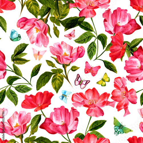 Vintage style seamless background pattern with watercolor roses
