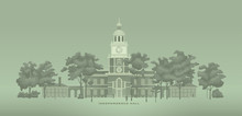 Independence Hall From The Back Of A 100 Dollar Bill Vector Illustration