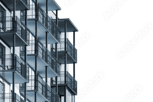 Fototapeta Modern apartment building with balconies isolated on white background to ad text obraz