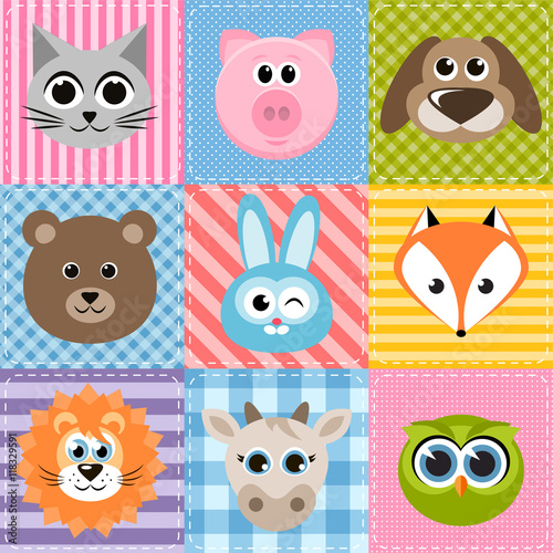 patchwork background with animals