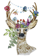 Panel Szklany Boho Illustration of roe deer with flowers