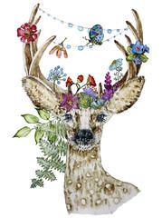 Fototapeta Boho Illustration of roe deer with flowers