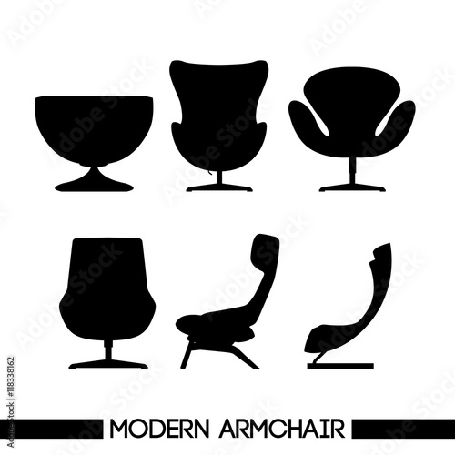 Photo  Black modern armchair set, in outlines, over white background