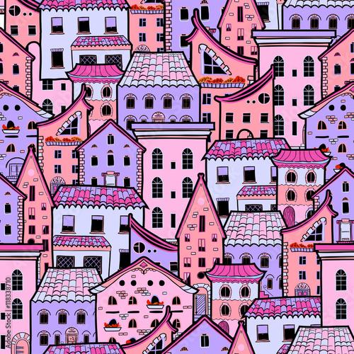 bezszwowy-wzor-z-domami-doodle-domowy-wektorowy-tlo-sliczni-colorfull-domy-dobrzy-dla-projekt-tkaniny-opakunkowy-papier-po