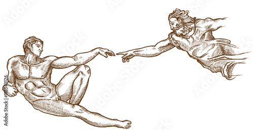 Carta da parati Creation of Adam hand drawn on white background