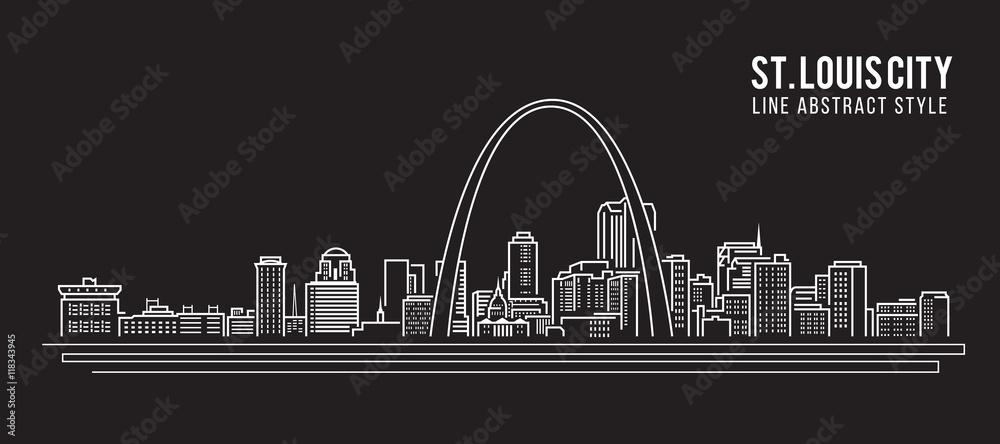 Fototapeta Cityscape Building Line art Vector Illustration design - st. louis city