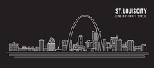 Cityscape Building Line Art Vector Illustration Design - St. Louis City