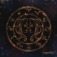 VECTOR Eps 10. Glowing Gemeni. Astrology Zodiac Signs