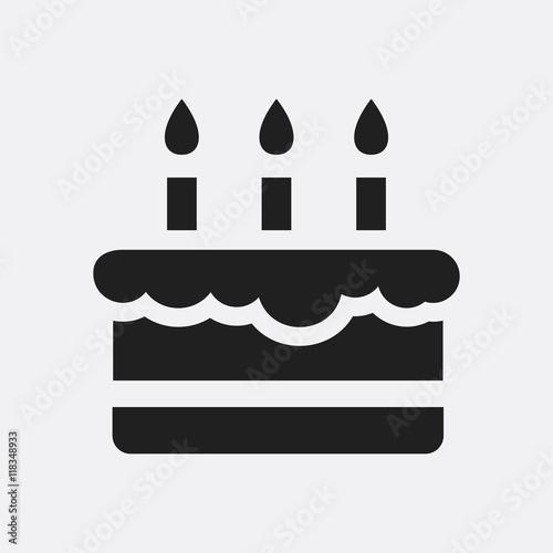 Canvastavla Birthday cake icon illustration