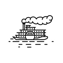 Flat Linear Retro Steamboat Il...
