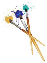 Artist Brushes With Paint