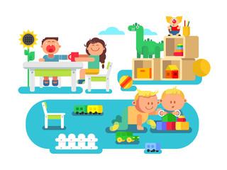 Fototapeta samoprzylepna Kindergarten flat design