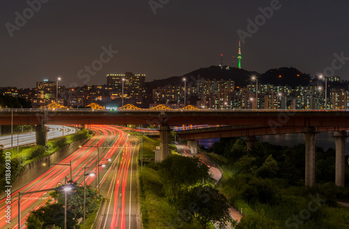 Traffic light trails on motorway highway at night in Seoul ,Sout Poster
