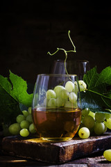 Fototapeta Do winiarni Wine and Grapes, old-fashioned still life, selective focus