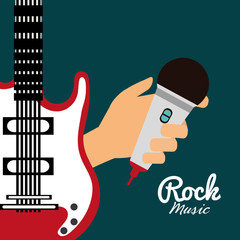 Panel Szklany Muzyka / instrumenty guitar microphone music sound instrument icon. Flat and Colorful illustration. Vector illustration