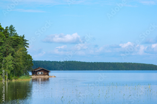 Photo Small cabin in shore of lake in eastern Finland