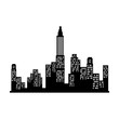 new york silhouette city building skyline view front vector illustration isolated