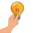 bulb light electricity hand holding idea illumination power bright think vector isolated and flat illustration