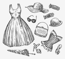 Fashion. Vector Collection Of Women Clothing. Hand-drawn Sketch Umbrella, Dress, Sunglasses, Corset, Handbag, Hat, Gloves, Shoes