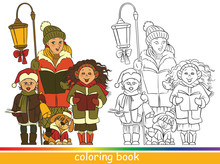 Children Christmas Choir. Carol Singers. Coloring Book Or Coloring Page For Children With Colored Sample