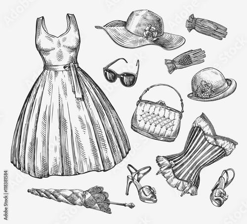 2f24d96b Vector collection of women clothing. Hand-drawn sketch umbrella, dress,  sunglasses, corset, handbag, hat, gloves, shoes