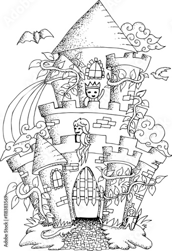 Keuken foto achterwand Art Studio Black and white illustration of a fairy house with details for adult coloring book