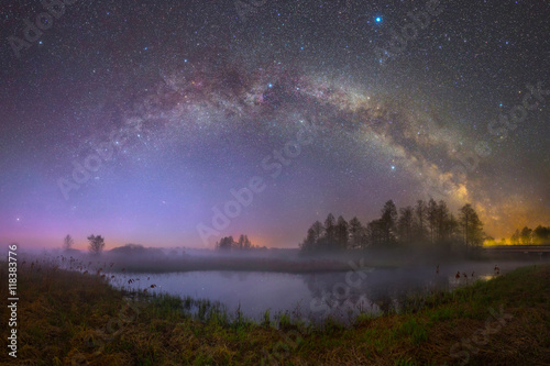 Photo sur Toile Marron chocolat Starry night landscape