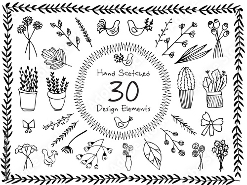 Foto auf AluDibond Boho-Stil The set of hand-drawn vector decorative elements