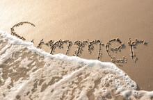 """Summer"" Written In Sand Beach"