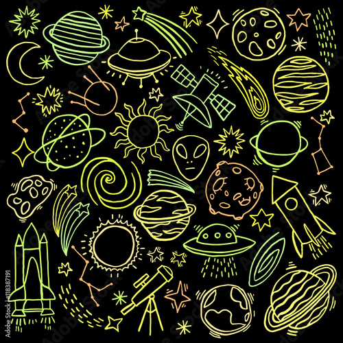 Photo  Cosmos space hand-drawn doodle icon set