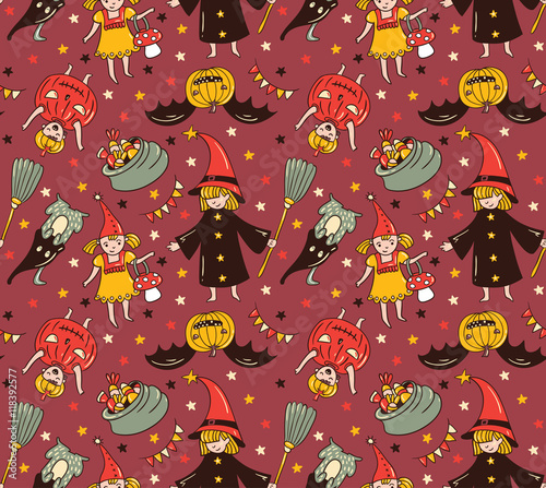 Cotton fabric Seamless halloween pattern with children in costumes. Witch and pumpkin background. Trick or treat vector illustration.