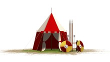 Medieval Knight Tent And Weapons Isolated On White