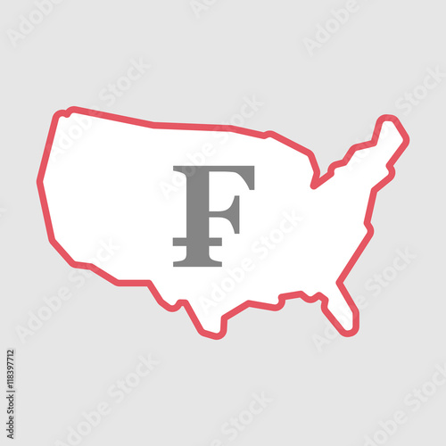 Isolated line art USA map icon with a swiss franc sign ...