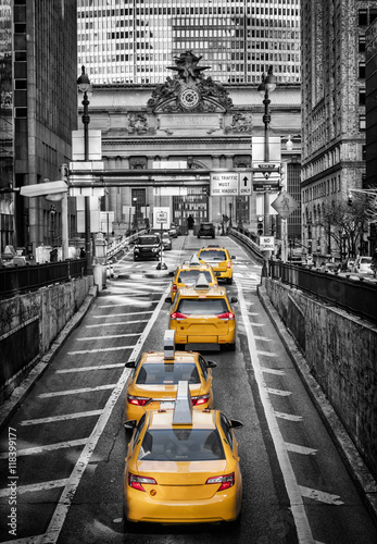 Tuinposter New York TAXI Yellow Cabs