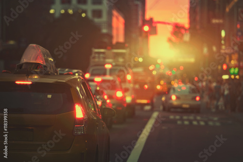 Staande foto New York TAXI Mahattan sunset