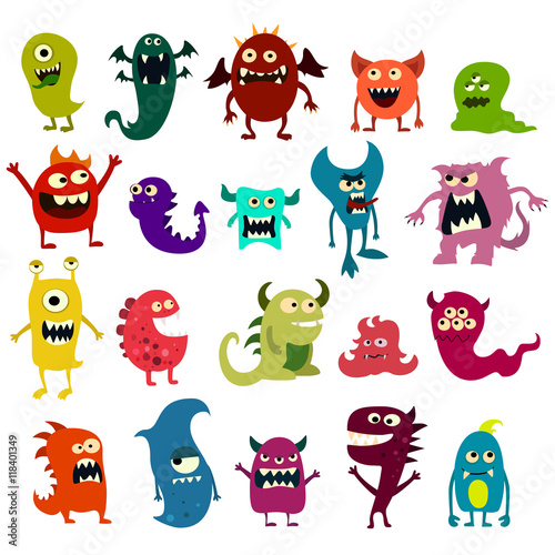 Fotografía  Cartoon monsters set. Colorful toy cute monster. Vector
