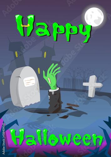 Halloween Banner Cemetery Graveyard Zombie Hand From Ground