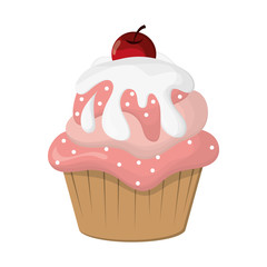 Fototapetaflat design decorated cupcake with cherry icon vector illustration