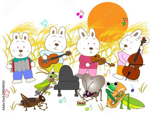 Deurstickers Regenboog 満月の夜のウサギと昆虫のコンサート