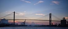 Sunset Over Suspension Bridge In Savannah, Georgia