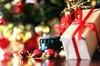 gift christmas ball and train