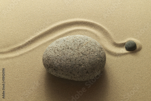 Printed kitchen splashbacks Stones in Sand Zen Umweg als Bild aus Sand und Kieselsteinen - Zen detour as an image of sand and pebbles