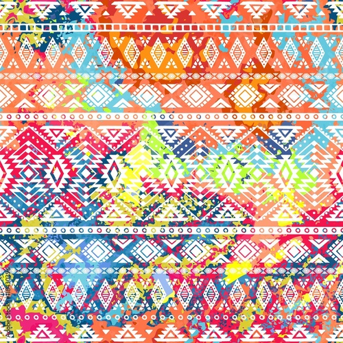 Door stickers Boho Style Bright ethnic pattern. Geometric striped background. Tribal moti