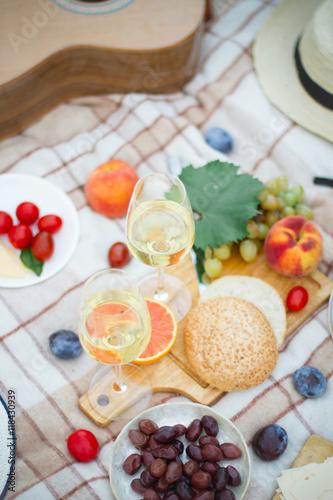 Stickers pour portes Pique-nique close up of food and wine