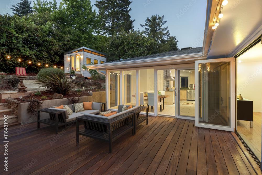 Fototapety, obrazy: Amazing wooden deck at twilight.