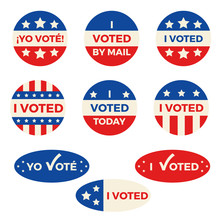 "Set Of Nine Different ""I Voted"" Badges And Stickers, Both In English And Spanish"
