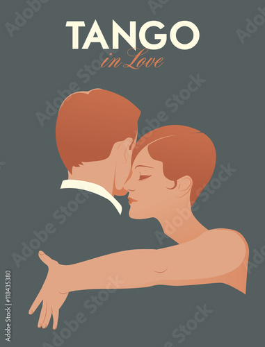 Young Couple Dancing tango Canvas Print