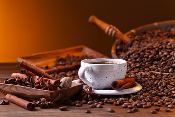 Fototapeta Kawa coffee and spices