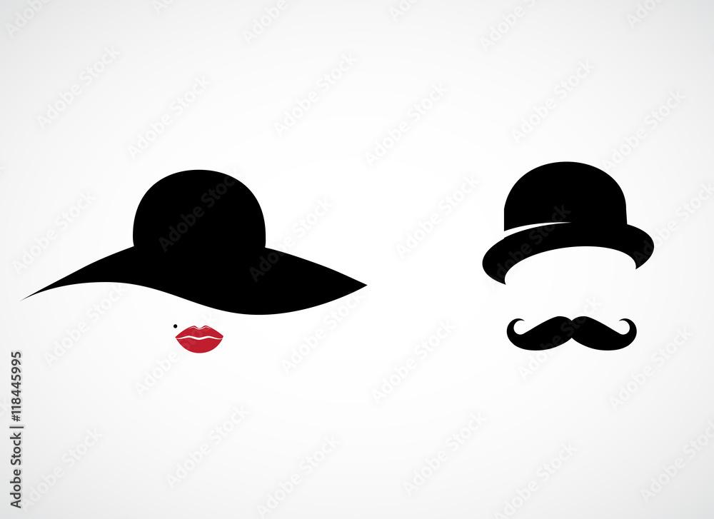 Fototapeta Retro lady and gentleman vector icon.